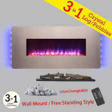 wall mount freestanding convertible electric fireplace heater in bonze w pebbles logs crystal remote control