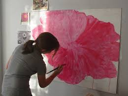 i believe this was her artistic break through moment she bloomed as an artist as her flower bloomed on her painting