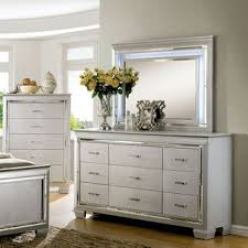 Furniture of America Tallone Contemporary 2piece Crocodile Textured  9drawer Dresser and Mirror