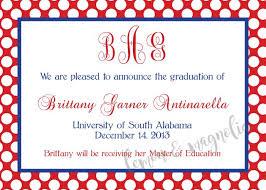 University Of South Alabama Graduation Announcement