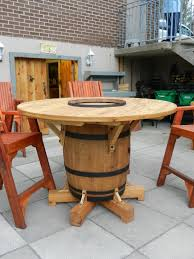 wine barrel outdoor furniture. Wine Barrel Table, My Husband Just Finished Making! Outdoor Furniture E