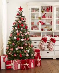 Traditional Christmas in Red & White / Red, White, & Green Christmas Tree /  Red & White Moose stocking / Red and White Gift Wrap ideas