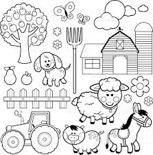 farm fence drawing. Farm Animals Vector Illustration Collection. Black And White Coloring Book Page Royalty-free Fence Drawing