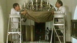 workmen smash chandelier in del boy moment