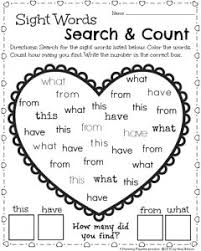 Valentine Sight Word Coloring Pages With Kindergarten Math And