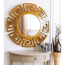 miranda golden brown round wall mirror
