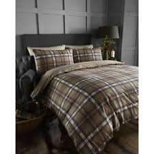 bedmaker arran natural tartan check brushed cotton duvet set