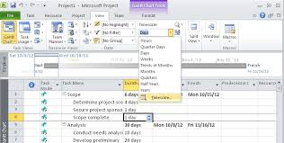 Ms Project Print Gantt Chart Without Timeline How To Change The Timescale In Any Timephased View In