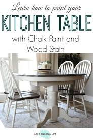 white chalk painted kitchen table with dark walnut stained top surface