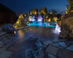 swimming pool lighting ideas. Breathtaking By Night And Fun Anytime, Mustang Estate\u0027s Pool Grotto Setting Is A Prize-winning HGTV-featured \u201ccool Pool\u201d Caviness Landscape Design. Swimming Lighting Ideas