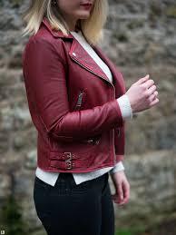 zara red burdy leather jacket
