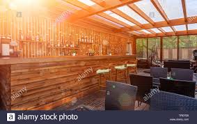 Summer Empty Outdoor Cafe At Park Bar With Modern Design