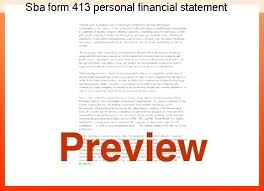 Sba Personal Financial Statement Form Template Instructions ...