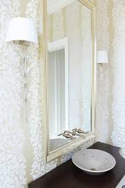 room modern camille glass: view full size powder room white and gold flocked wallpaper long glass sconces