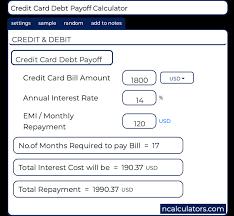 Credit Payoff Calculator Credit Card Dept Payoff Calculator