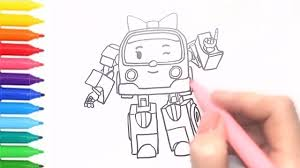 robocar poli how to draw amber coloring book for kids drawing for kids with colored markers