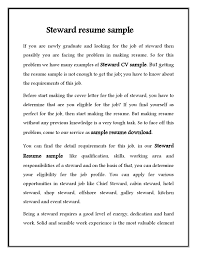 Steward Cv Sample For Hotel Stewerd Job