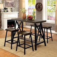 rustic dining table and chairs. Furniture Of America Hollenbeck Rustic Medium Weathered Oak \u0026 Black Counter Height Table Dining And Chairs