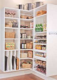 kitchen floating white wooden corner kitchen pantry cabinet with shelf and steel racks on grey