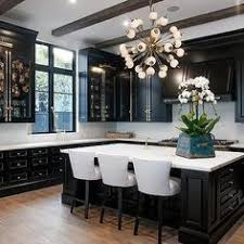 Black Kitchen Cabinets with Brass Cremone Bolts