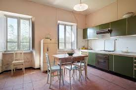 kitchen with green cabinets and ed walls