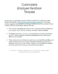 Sample Employee Handbooks Free Employee Handbook Template Employee Manual Template