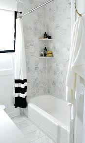 bathtub shower makeover with hexagon marble white on tub new shower head devcon
