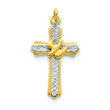 details about 925 sterling silver 18k gold plated holy spirit cross with dove charm pendant
