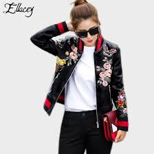 new arrival 2018 jan souvenir motorcycle pu leather jacket women short fl printed embroidery