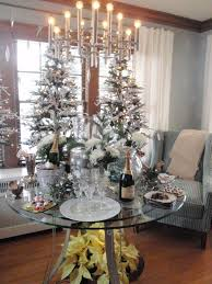 Sweet Christmas And New Years Party Decorations Ideas With Silver  Candelabra And White Christmas Tree Charming Table Arrangement For Christmas  And New Year ...