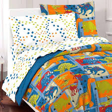 dinosaur sheets queen blue green block bedding twin or full comforter set bed in a bag