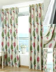 lovely pink and green tree pattern thick polyester blackout kids room curtains dark green blackout curtains