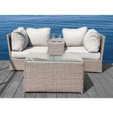 brown set patio source outdoor. Living Source International Chelsea Cup Grey Aluminum/Wicker Loveseat Set With Matching Table (Grey Brown Patio Outdoor