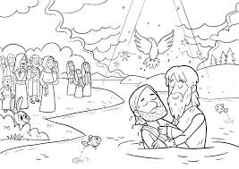John The Baptist Baptism Jesus Coloring Page Being Baptized Pages