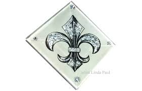 fleur de lis decorative glass backsplash tile insert 2x2 white and silver