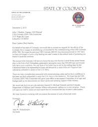Letter Colorado 788 Uss Governor - Commissioning Committee ssn Hickenlooper