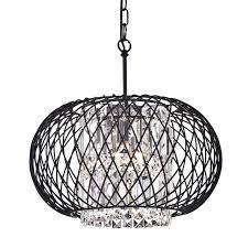 antique black round drum 3 light crystal pendant chandelier ceiling fixture