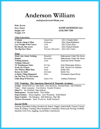Broadway Resume Sample Resume Theatre Actor How To Write Acting Child Broadway A Dance 21