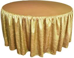 72 round ruffled fitted crush taffeta tablecloth with skirt gold 63727 1pc pk