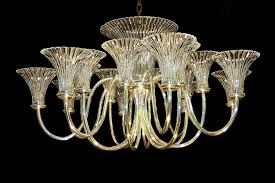 art deco chandelier in rib fluted trumpet shade wilkinson plc design 18