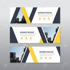 Business Banner Design Yellow Black Triangle Abstract Corporate Business Banner Template