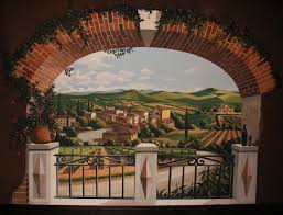 on tuscan vineyard wall art with tuscan vineyard lanndscape mural complimented with faux finish