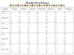 monthly meal planner template monthly meal planner template monthly menu planner an editable