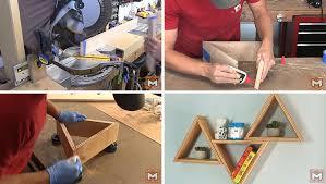 modern diy wood triangle wall shelves