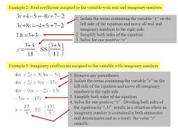 example 2 real coefficient assigned to the variable with real and imaginary numbers example 3