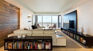 Cool Cozy Sectional Sofa Facing Lcd Tv And Drop Ceiling And Black  Bookshelves In Apartment Design