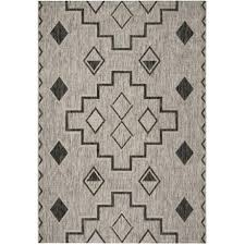indoor outdoor area rugs 8x10 courtyard collection contemporary southwest rug grey black in