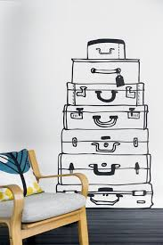 a pile of suitcases wall decoration with wall decal 70 beautiful ideas and designs
