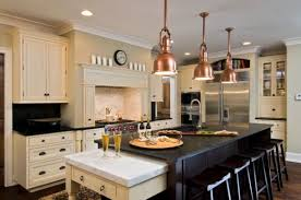 kitchen pendant lighting over island. Magnificent Creamy Theme Kitchen Combined With Bronze Pendant Lighting Over Island And Black Table Chair Sets R