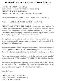 Academic Recommendation Letter 20 Sample Letters Templates